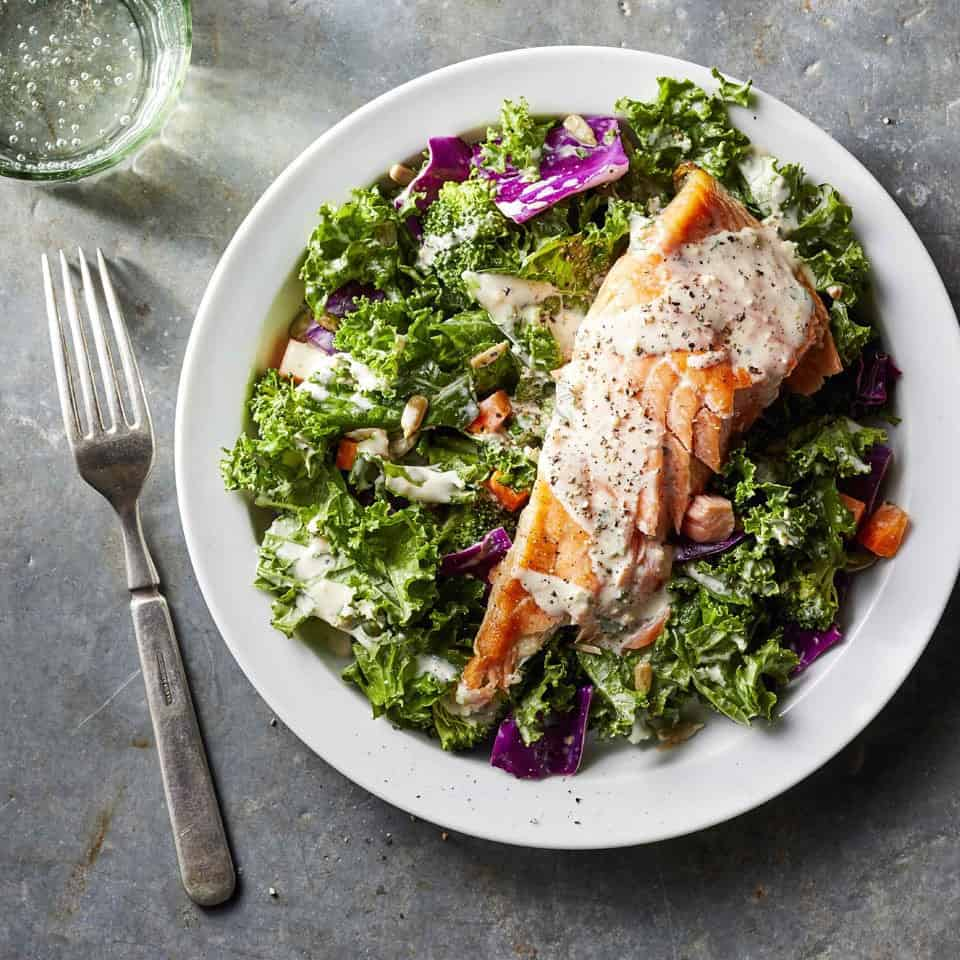 Salmon Chopped Superfoods Salad With Creamy Garlic Dressing